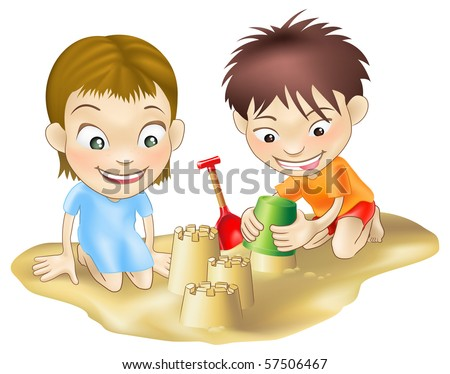 A illustration of two children playing in the sand, making sandcastles - stock vector
