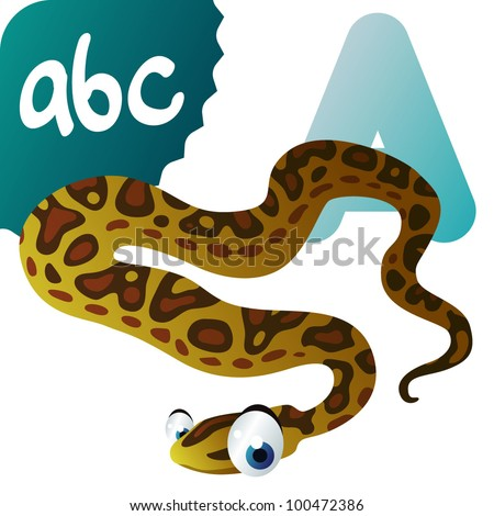 A is for Anaconda - stock vector