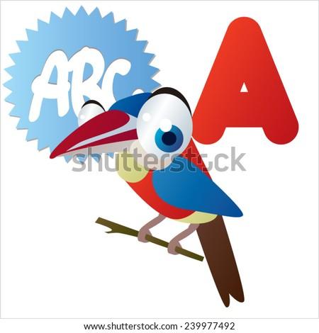 A is for vector cute cartoon isolated Arasari bird - stock vector