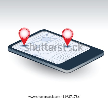 A isometric view of a mobile phone with navigation map - stock vector