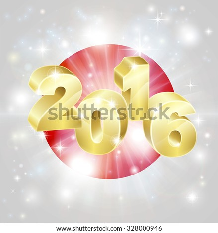 A Japanese flag with 2016 coming out of it with fireworks. Concept for New Year or anything exciting happening in Japan in the year 2016. - stock vector