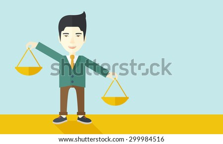 A japanese guy holding a Weighing scale inclined to the other side. Balancing concept. A Contemporary style with pastel palette, soft blue tinted background. Vector flat design illustration - stock vector