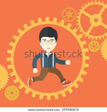 A japanese man with a beard is running inside the gear. Business in action concept. A Contemporary style with pastel palette, orange tinted background. Vector flat design illustration. Square layout - stock vector