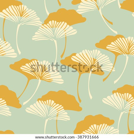 A Japanese Style Ginkgo Biloba Leaves Seamless Tile In Gold And Light Blue Color Palette