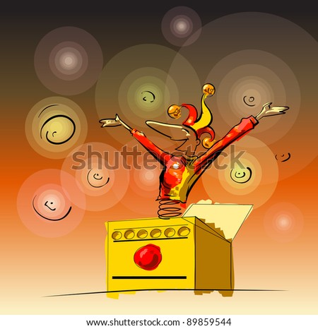 A jester poping out og a box. Vecot illustration in sketchy loose style - stock vector