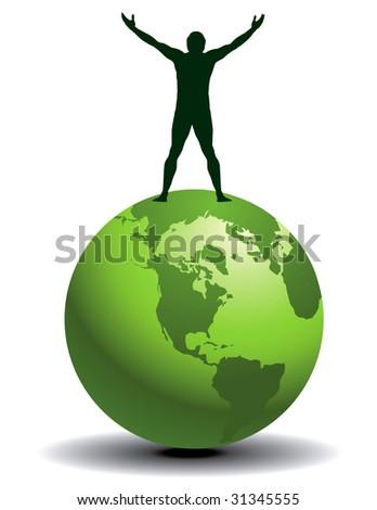A joyful man on top of a green world in vector format - stock vector