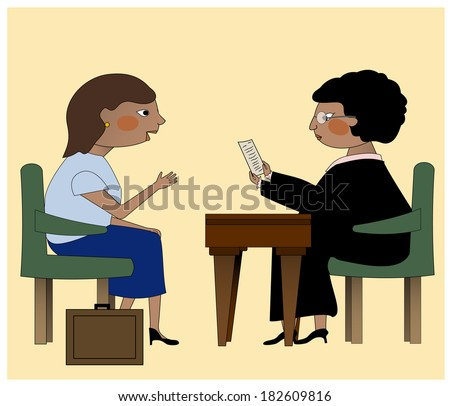 A judge and a lawyer discussing legal issues/The Judge and the Lawyer - stock vector