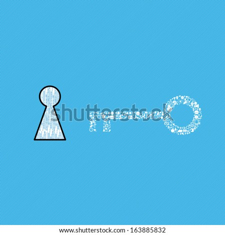 a keys with icons of business as a background, business success concept  - stock vector