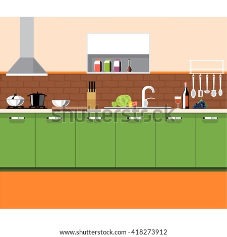 A kitchen plane with green furniture and brown bricks wall, with bottles, set of knives, wine, glasses, washstand and other accessories, digital vector image - stock vector