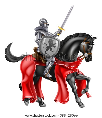 A knight on horse back holding a sword and shield with a lion heraldic motiff - stock vector