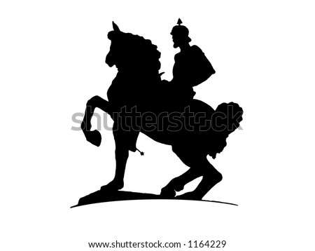 A knight ridding a horse. - stock vector