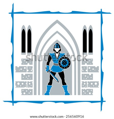 A knight standing guard on the gate of fortress - stock vector