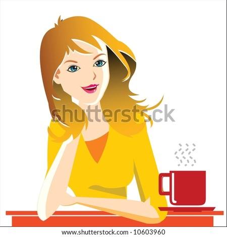 a lady enjoying coffee - stock vector