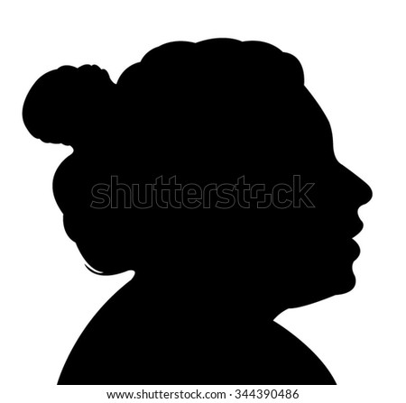 Isolated Silhouette Woman Head Bun Stock Vector 188020238 ...