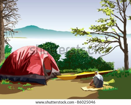 A lakeside campsite with a tent and a kayak. A girl is sitting on a blanket reading a book. A mountain is visible across the lake. A beautiful scene on a sunny summer day. - stock vector