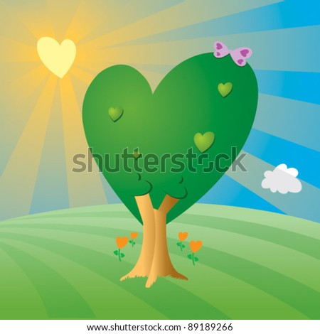 A landscape full of hearts - stock vector