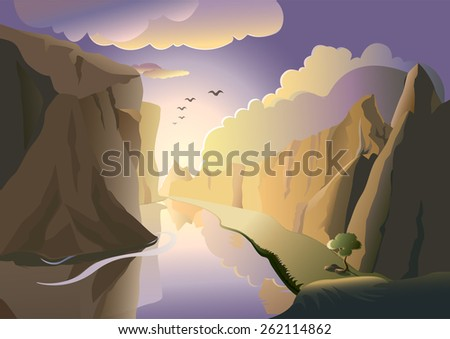 A landscape - water flowing through rocks at sunset. - stock vector