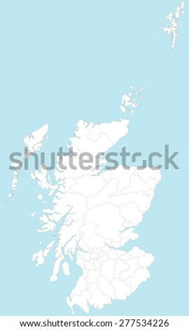 A large and detailed map of Scotland with all areas and counties. - stock vector