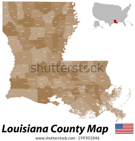A large and detailed map of the State of Louisiana with all parishes and main cities. - stock vector