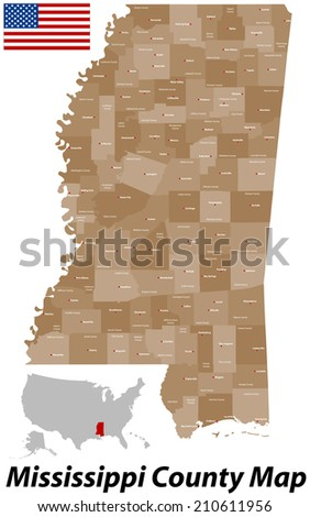 A large and detailed map of the State of Mississippi with all counties and main cities. - stock vector