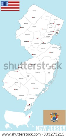 Large Detailed Map State New Jersey Stock Vector 333273215