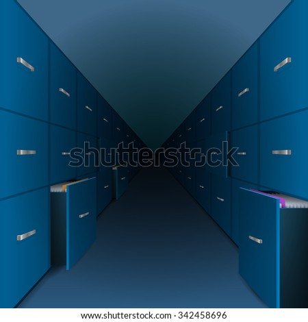 A large archive files receding into the distance - stock vector