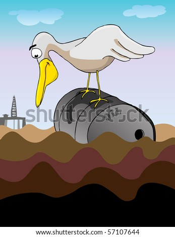 A large bird perched on a dented steel barrel gazes into an oil-coated ocean for a meal. Behind is a drilling platform. - stock vector