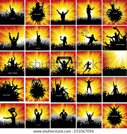 A large collection of advertising posters. ( Fans, Sport, Music ) - stock vector