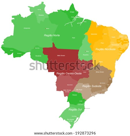 A large, detailed map of Brazil with all regions and main cities. - stock vector
