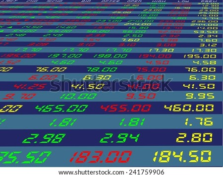 a large display of daily stock market price and quotation viewing from the bottom right, vector illustration - stock vector