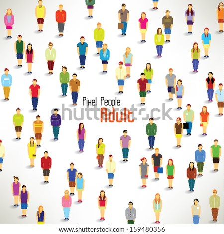 a large group of adults gather together vector icon design - stock vector