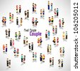 a large group of people and couple vector icon design - stock vector