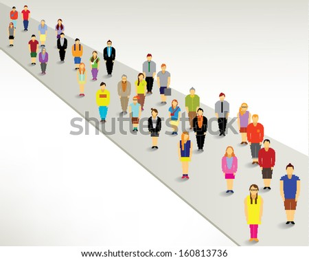 A large group of people gather around vector design - stock vector