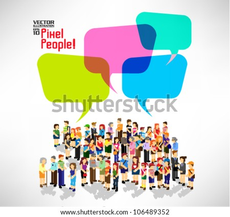 a large group of people gather together vector icon design