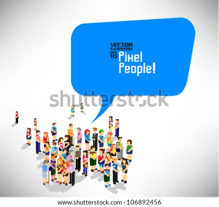 a large group of people gather together with speech bubble vector icon design