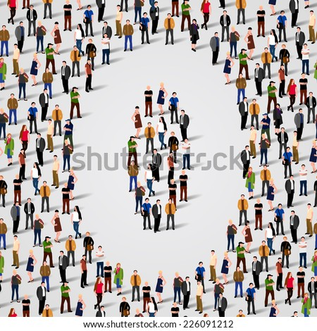 A large group of people in number 0 zero form. Vector seamless background - stock vector