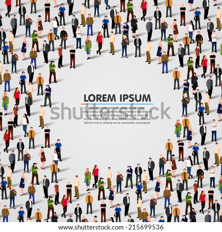 A large group of people in shape of chat bubble. Vector background - stock vector