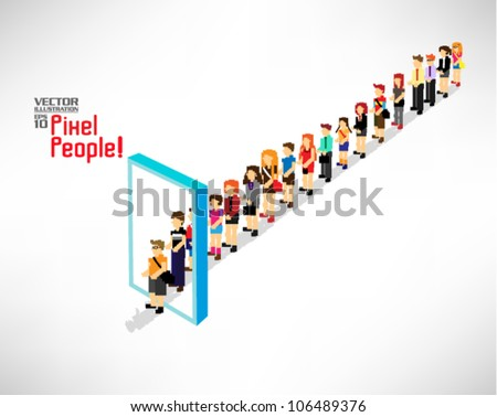 a large group of people queuing up entering a door vector icon design - stock vector