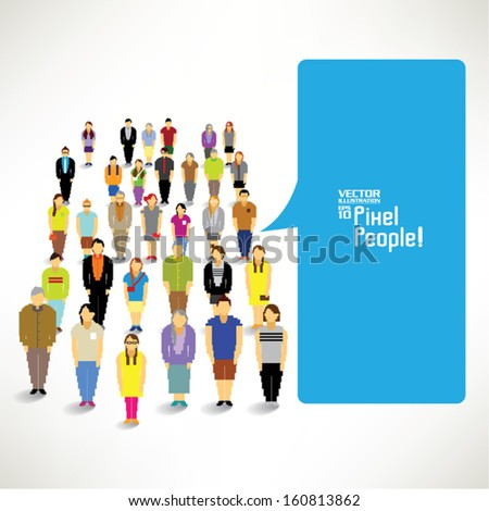 A large group of people with talking bubble vector icon design - stock vector