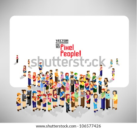 a large group of pixel people with blank board vector icon design - stock vector