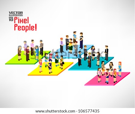 Category People  >> Large Group Pixel People Different Category Stock Vector 106577435
