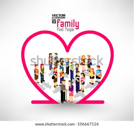 a large group of pixel people with love element vector icon design - stock vector