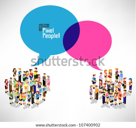 a large group of pixel people with talking bubble vector icon design