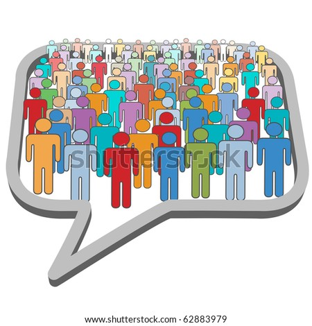 A large group of social media people meet inside a communication speech bubble - stock vector