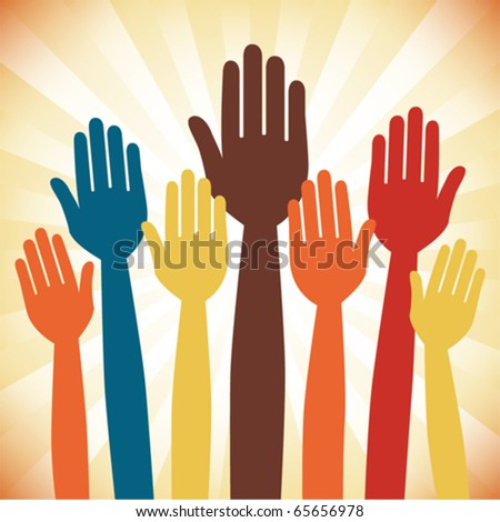 A large group of voting hands design. - stock vector