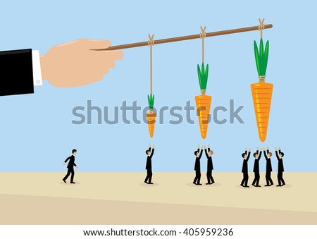A large hand holds a carrots on a stick. A metaphor on management, incentive and leadership. - stock vector