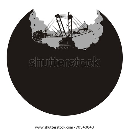 A large mining earth mover/excavator digs up a planet - black and white vector illustration - stock vector