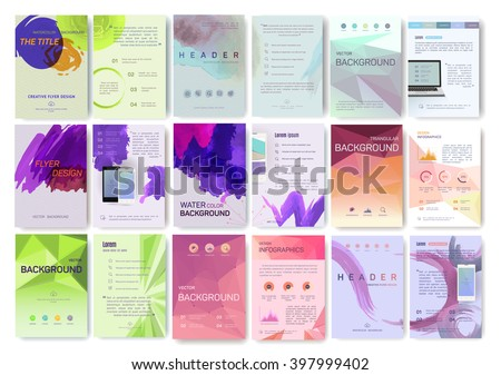 A large set of booklet, magazine poster, flyer, abstract banner, creative, decorative illustration ,vector, brochure design template,  Watercolor sheet, paper, aquarelle - stock vector