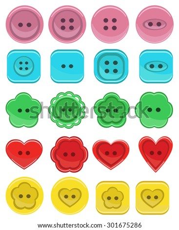 A large set of buttons in different designs.