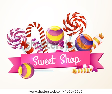 A large set of candies, sweets, greeting, logo, store, package. - stock vector